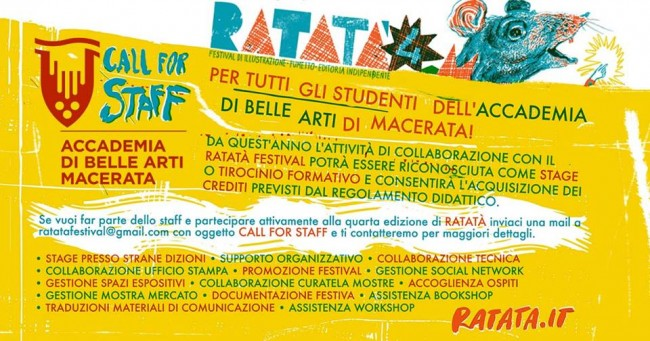 RATATA' Festival 2017 - Call for Staff